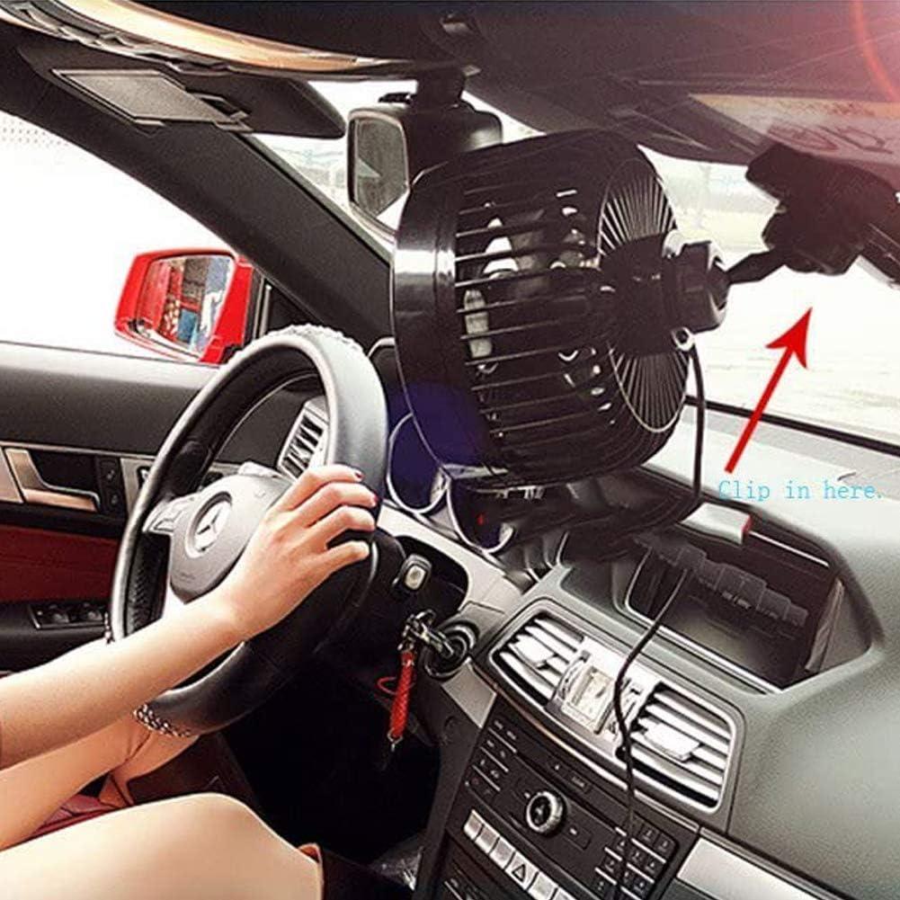 potencia 9 W Queta Auto Ventilator Car Clip Fan 12 V Intsun 6 aduanas Auto Kfz Ventiladores con Clip Gebl/äse Klimaanlage Fan vertical y horizontalmente ajustable
