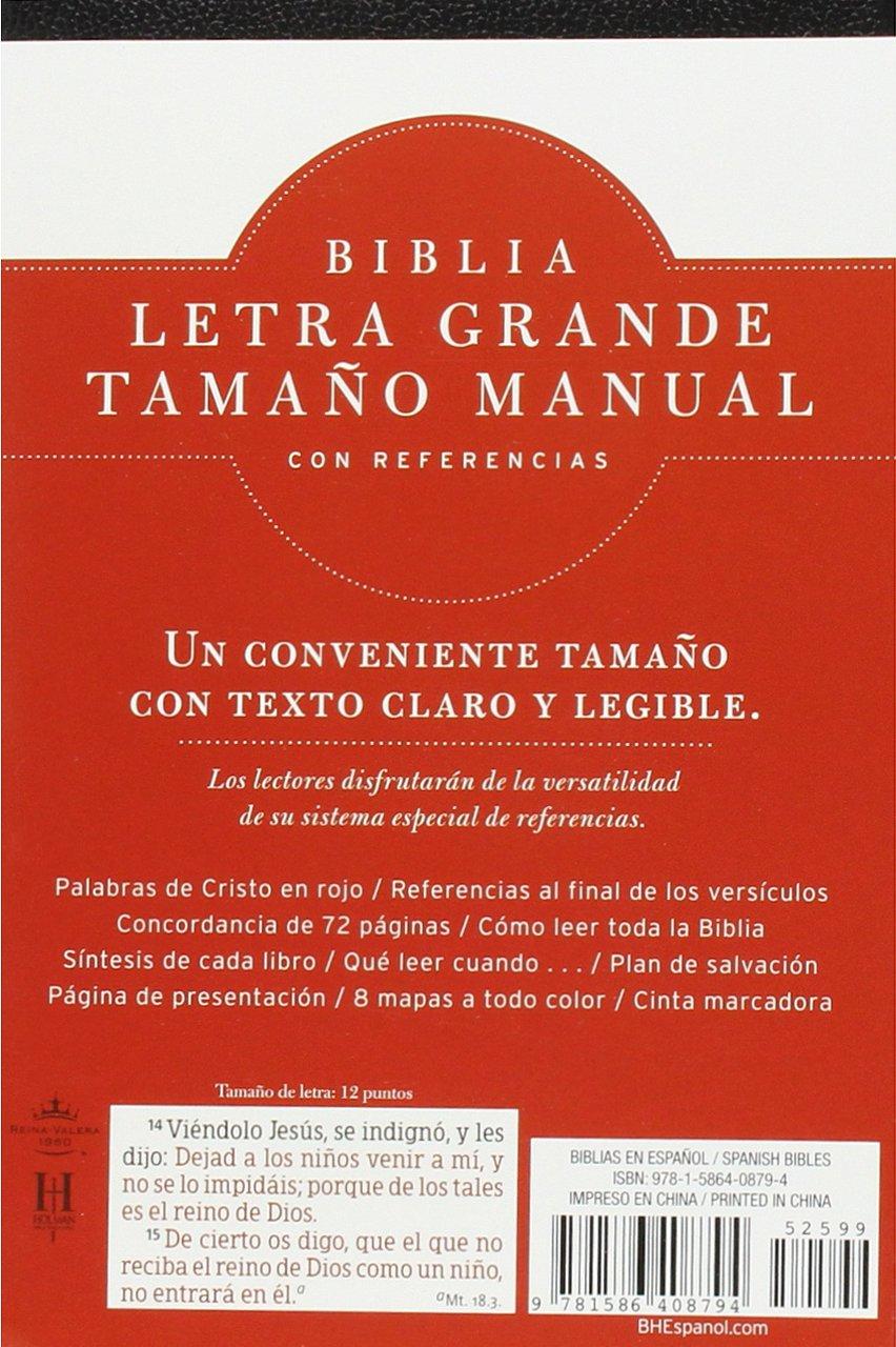 RVR 1960 Biblia Letra Grande Tamaño Manual, negro imitación piel ...