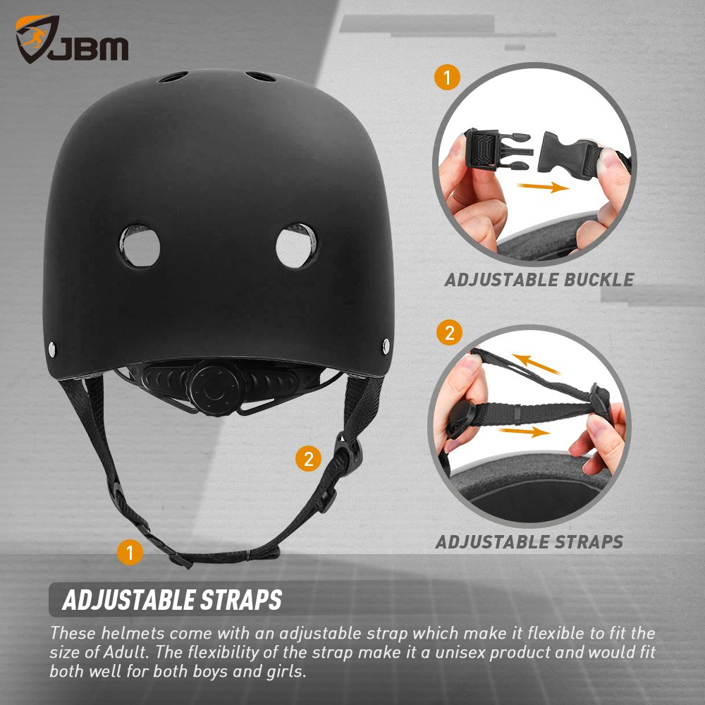 JBM Helmet for Multi-Sports Bike Cycling, Skateboarding, Scooter, BMX Biking, Two Wheel Electric Board and Other Sports [Impact Resistance] (Black, Adult) by JBM international (Image #5)