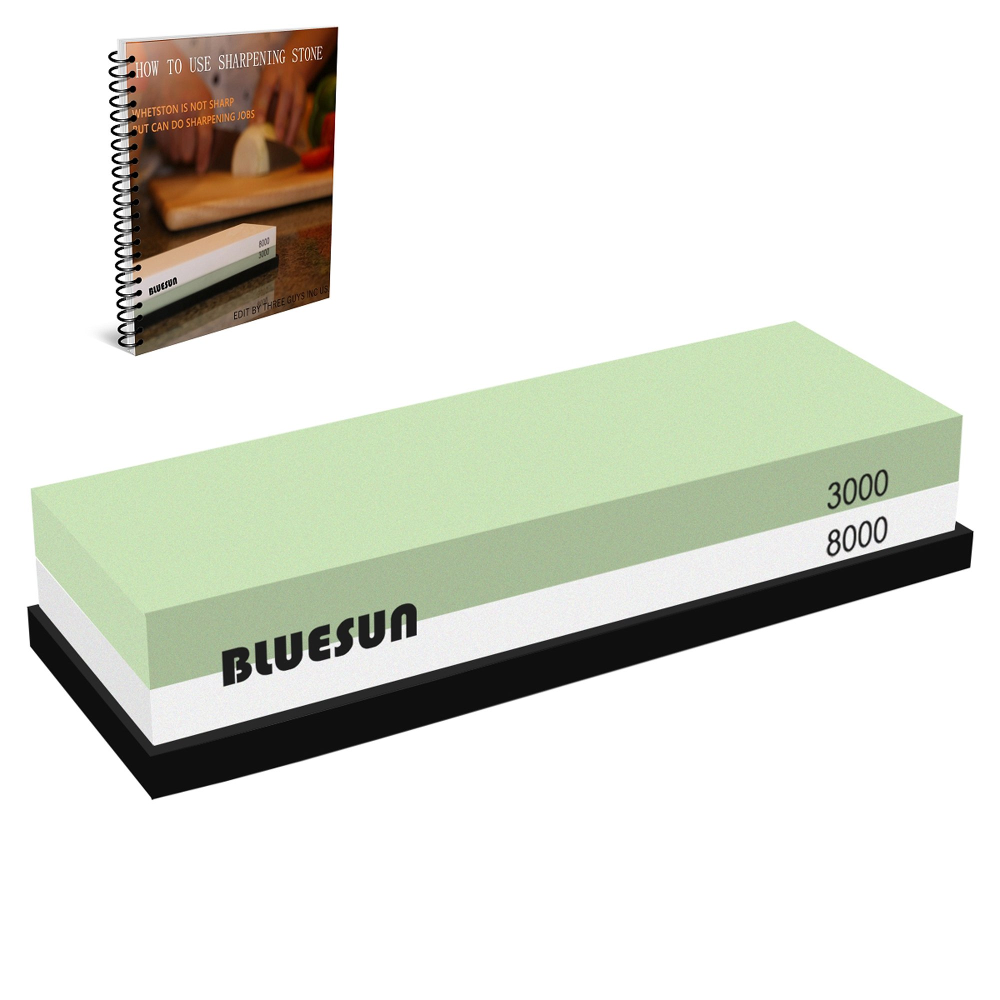 BLUESUN Knife Sharpening Sharpener Stone Whetstone Waterstone 3000 8000 Grit, Silicon Non-slip Base and Ebook Included for Kitchen knives, Tactical knives, Scissors, Razors, Swords, and More