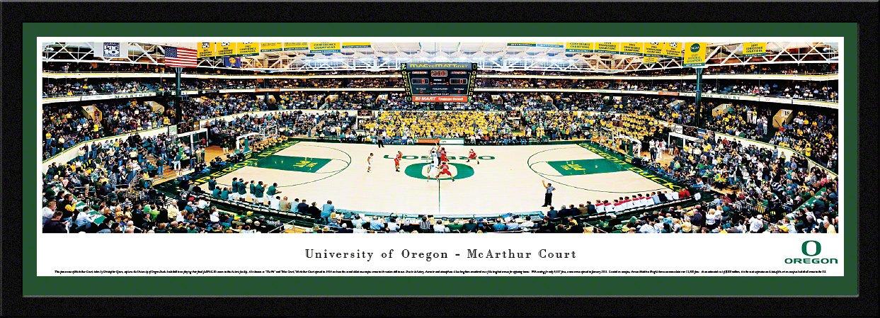オレゴン州バスケットボール – Mac Court – Blakewayパノラマ印刷  チームカラーのシングルマット付きセレクトフレーム B00QG4SXS0