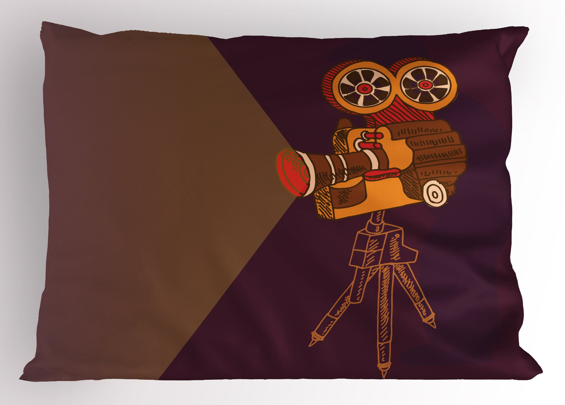 Lunarable Vintage Pillow Sham, Classic Movie Theater Machine with Cinema Fest Typography Past Filmmaker Print, Decorative Standard King Size Printed Pillowcase, 36 X 20 inches, Brown Purple