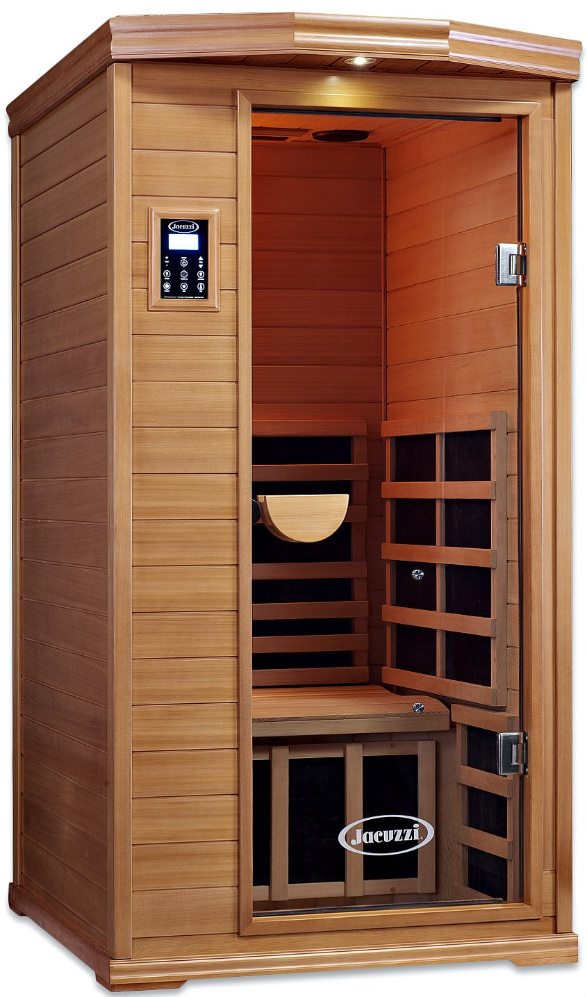 ClearLight Jacuzzi IS-1-GS Glass Premier 1 One Person Sauna Red Cedar - Infrared Fusion Power Carbon-Ceramic Heaters, Near Zero EMF - Chromotherapy Lights, Bluetooth AUX MP3 Audio Inputs