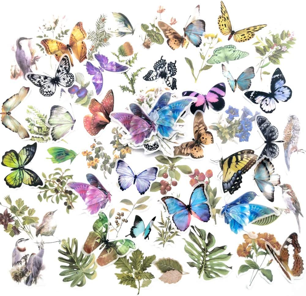MOTOEYE Nature Style Flowers Birds Butterflies Note Stickers 120pcs for Scrapbook, Paper Notebook, Journal, Dairy, Card Making, Letters【Only Used on Papers】