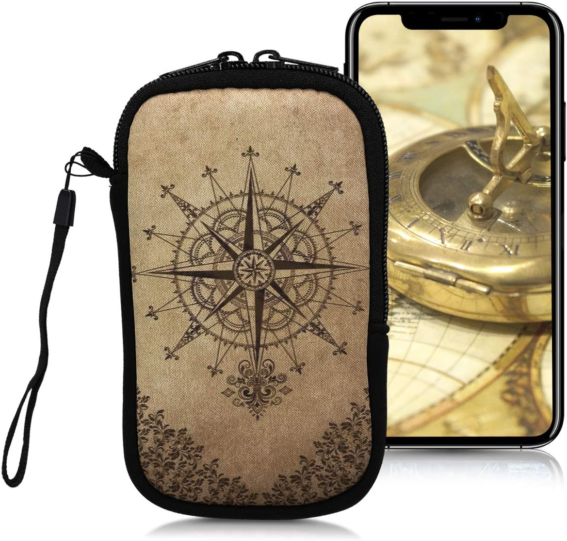 "kwmobile Neoprene Sleeve for Smartphone Size S - 4.5"" - Shock Absorbing Pouch Case - Protective Phone Bag - Baroque Compass Dark Brown/Beige"