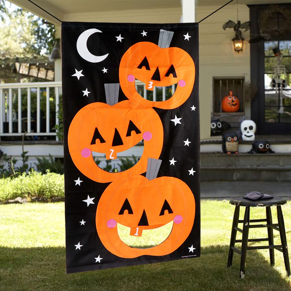 PartyTalk Pumpkin Bean Bag Toss Games with 3 Bean Bags Halloween Games for Families with Kids Travel Games, Halloween Party Decorations Supplies