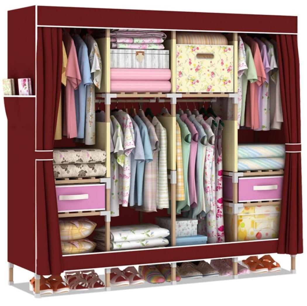 GY&H Portable Vêtements Placard penderie solide bois Oxford tissu organisateur de stockage de tissu avec étagères
