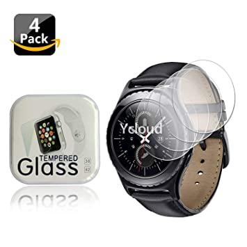 Ycloud [4-Unidades Protector de Pantalla de Vidrio Templado para Samsung Gear S2 Classic Smartwatch Alta Definicion 9H Dureza Anti-Explosion