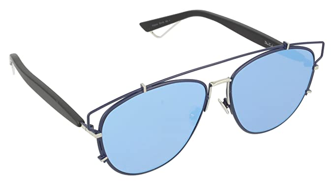 9afd1302e9b Image Unavailable. Image not available for. Color  Dior PQU Blue Black  Technologic Aviator Sunglasses