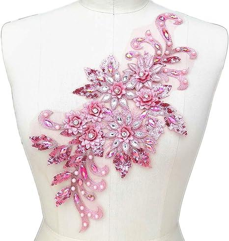 Pink Appliques Stones Sequin Applique Craft Supply Decorative Patches 1 Pair