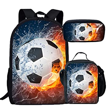 Amazon.com | Coloranimal Childrens School Bag+Pencil Case+Lunch Pouch 3D Football Design | Kids Backpacks