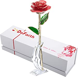 DEFAITH 24K Gold Rose Made from Real Fresh Long Stem Rose Flower, Great Anniversary Gifts for Her, Red with Stand