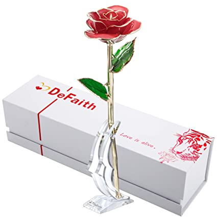 DeFaith Real Rose 24K Gold Dipped, Forever Gifts for Her Valentine's Day Anniversary Wedding and Proposal – Red with Stand