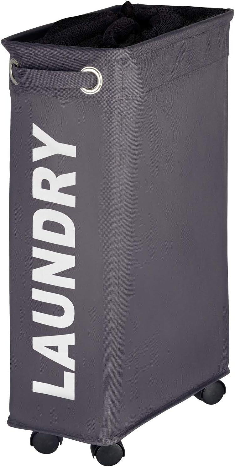 WENKO Corno Laundry Bin, 7.3 x 23.6 x 15.7 inch, Grey