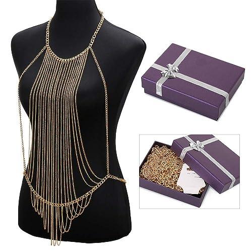 547b73b3957 Amazon.com: DOTASI Bikini Cross Body Link Chain Necklace to Waist Belly Belt  Harness Women Body Full Metal Chain Gold Jewelry Necklace: Jewelry