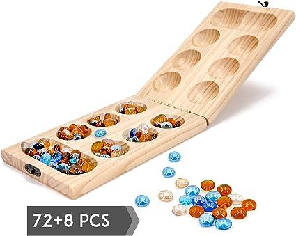 Vudo Mancala Game Set Solid Wood Folding Board Gemstone Pieces Kids Classic Fun