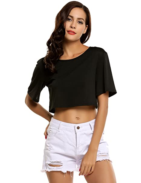 2afc39b1ada0 Image Unavailable. Image not available for. Color: Zeagoo Women's Cute  Basic Short Sleeve Loose Crop Top Black XXL
