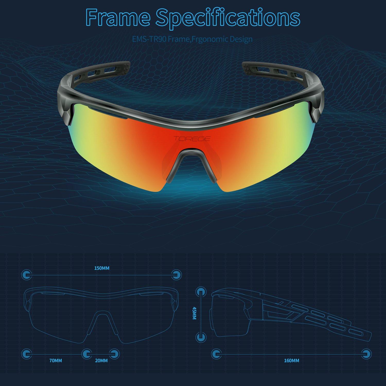 TOREGE, occhiali da sole polarizzati, occhiali da running, per uomo, ciclismo, pesca, golf, TR033, Silver/Black tips&Blue lens