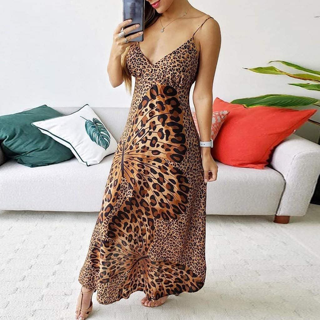 LINYIOU77 Summer Dresses for Women Deep V Leopard Butterfly Wrap Sling Sleeveless Nightclub Beach Long Dress