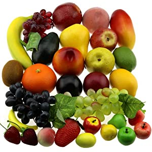 Gresorth 30 Fruits of Decorative Realistic Artificial Fruit Decoration Fake Lemon Banana Apple Grape Peach Pear Mango Strawberry Orange …