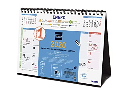 Finocam - Calendario de sobremesa 2020 Color Escribir español