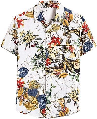waotier Camisas Casual para Hombre étnico de Manga Corta Casual algodón Lino Suelta Transpirable Estampado Floral Camisa Hawaiana Blusa: Amazon.es: Ropa y accesorios