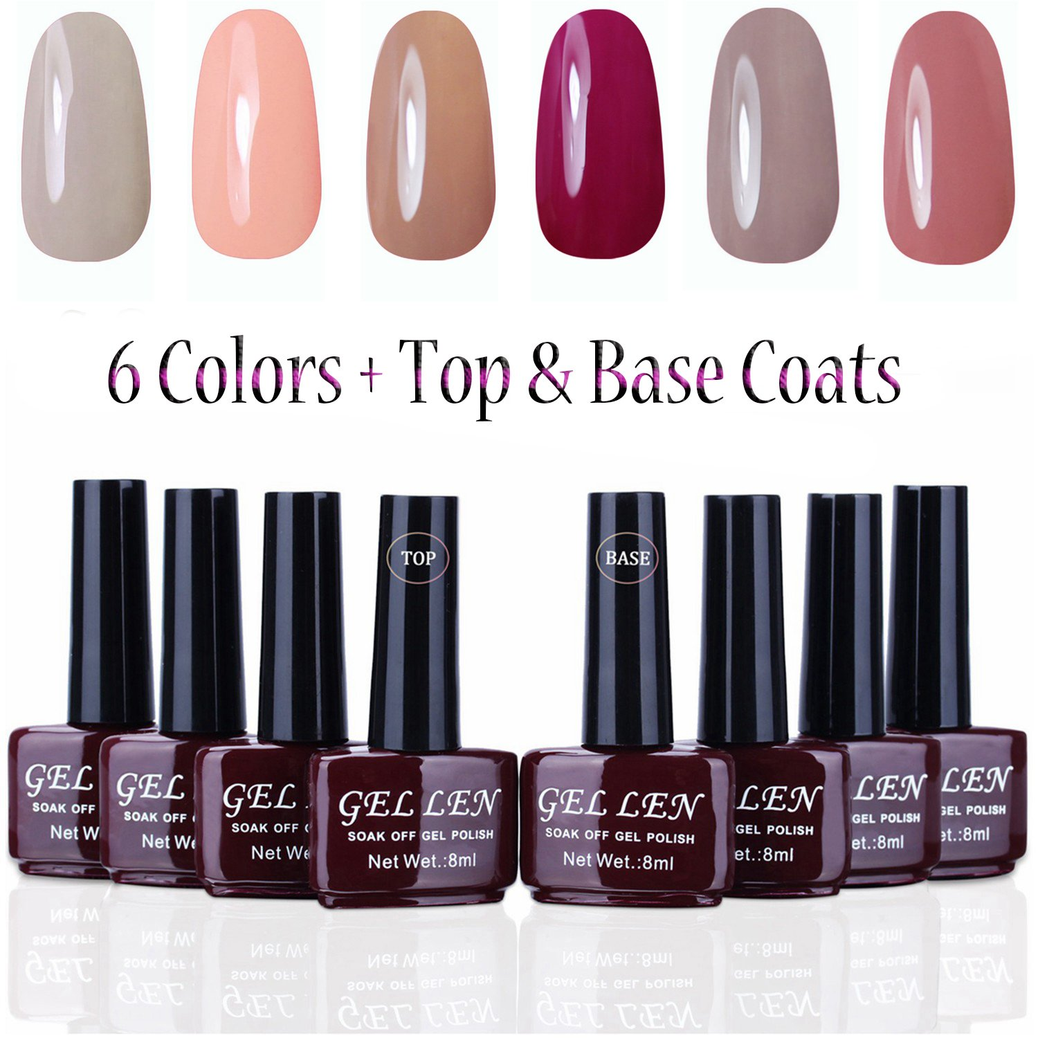 Amazon.com : Gellen UV Gel Nail Polish Kit 6 Pastel Colors + Base ...