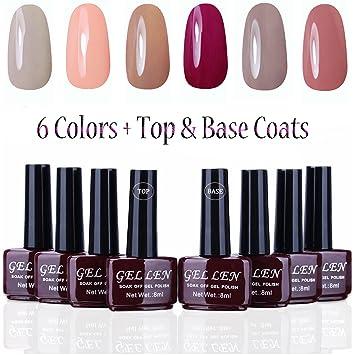 Amazon gellen uv gel nail polish kit 6 pastel colors base gellen uv gel nail polish kit 6 pastel colors base coat and top coat solutioingenieria Image collections