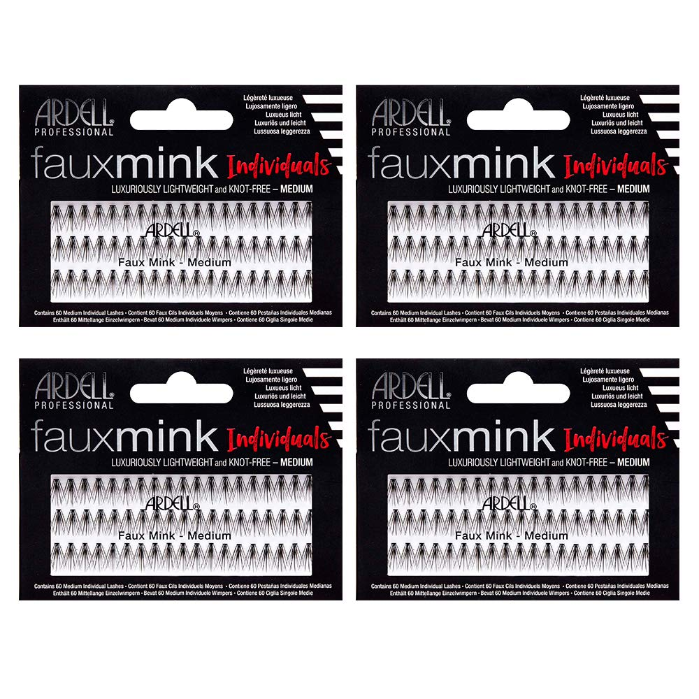 Ardell False Eye Lashes Faux Mink Individuals Medium Black 4 Pack