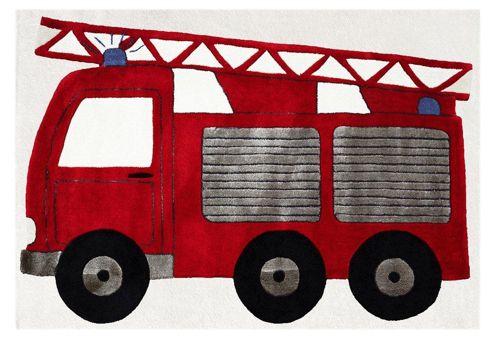 Livone Kinderteppich Happy Rugs FEUERWEHRAUTO rot 120x180cm
