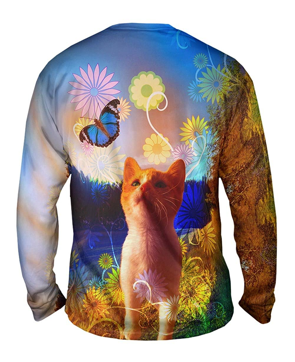 Mens Long Sleeve TShirt Yizzam Butterfly Kitten