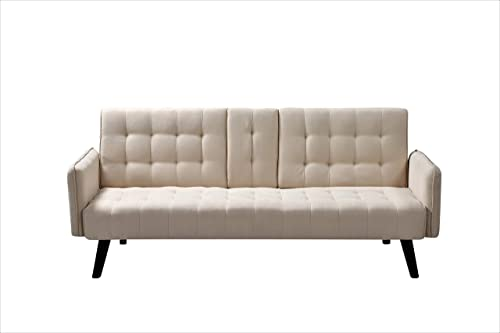 Container Furniture Direct Hash Fabric Upholstered Living Room Sleeper Sofa, 72 , Beige
