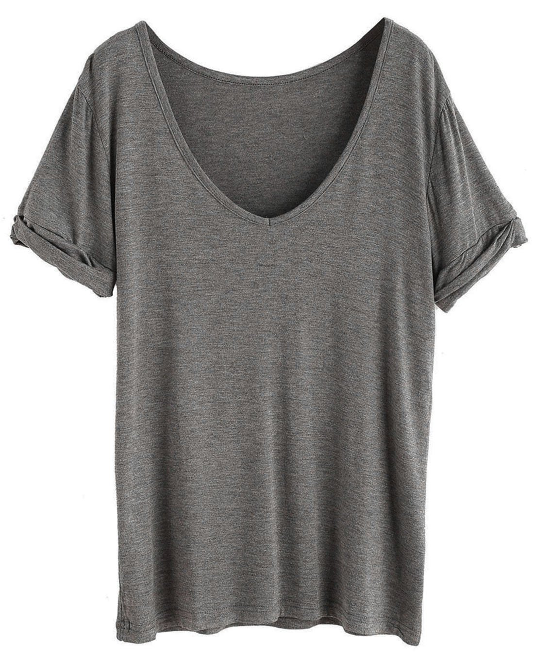 SheIn Women's Summer Short Sleeve Loose Casual Tee T-Shirt Dark Grey# XX-Large