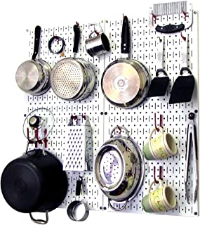 product image for Wall Control 30-KTH-200 WR Kitchen Pegboard Organizer Pots and Pans Pegboard Pack Storage and Organization Kit with White Pegboard and Red Accessories