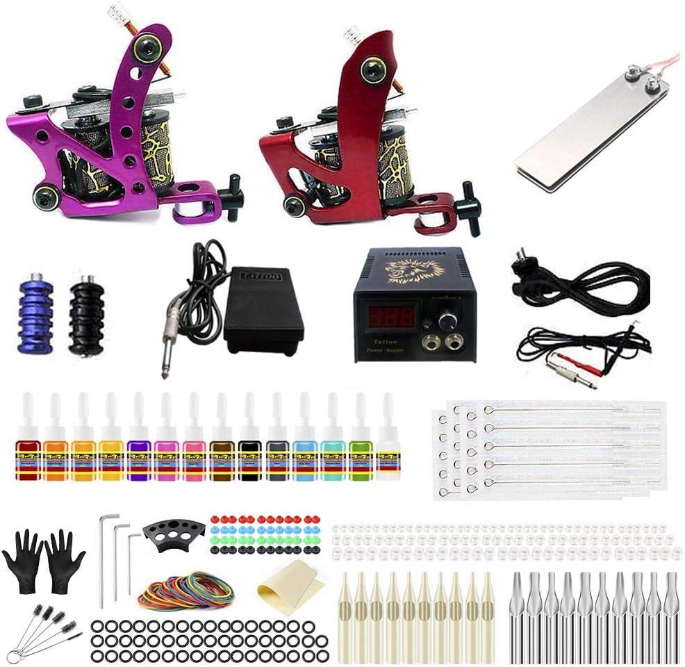 Juego completo de tatuaje con 2 máquinas para tatuar, 20 tintas, 50 agujas, 2 interruptores de pie, 1 fuente de alimentación (US-16): Amazon.es: Belleza