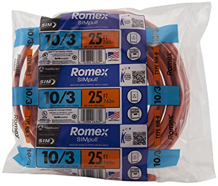 Southwire 63948421 25\' 10/3 with ground Romex brand SIMpull ...