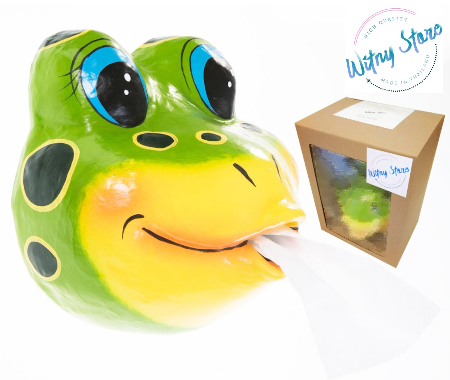 WitnyStore Toilet paper Frog wildlife zoo Holder Tissue bathroom paper Mache holding roll kids handmade craft home decorations idea DIY animals