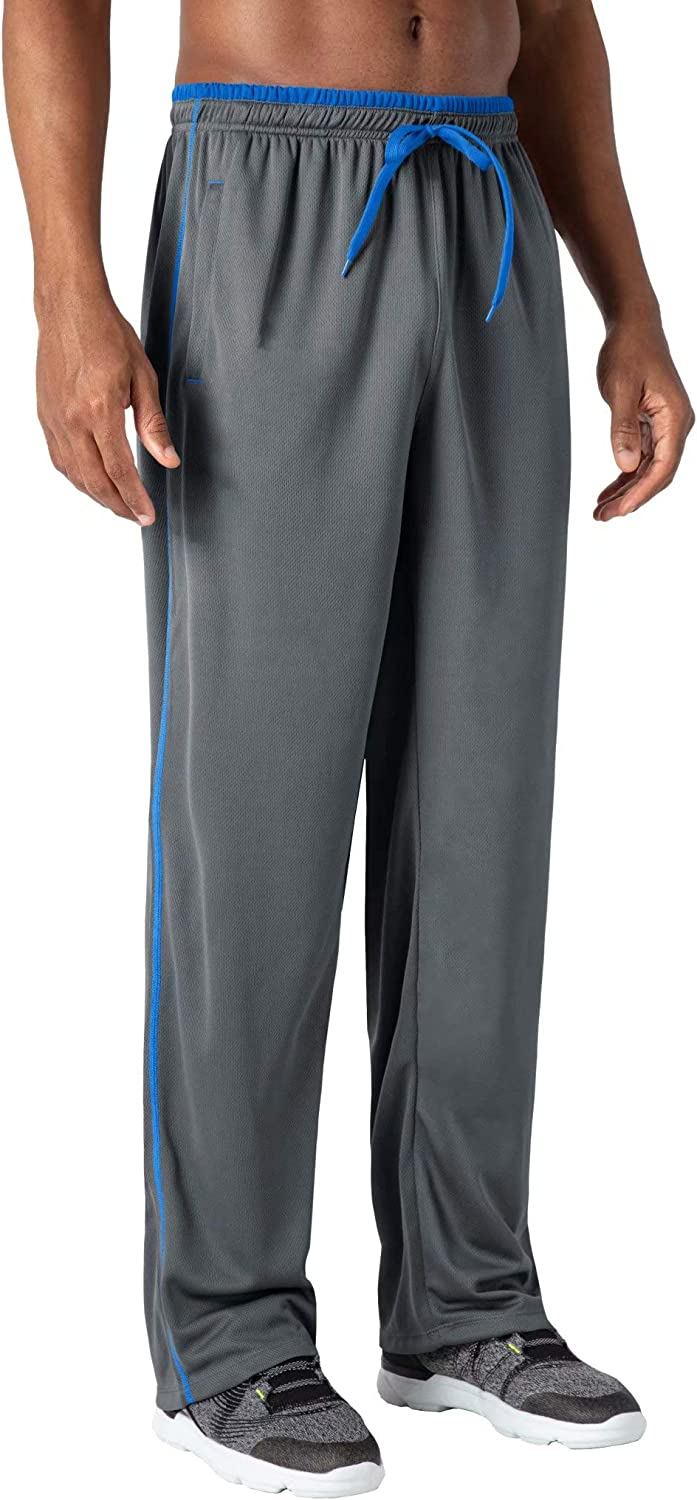 HOPATISEN Mens Sweatpants Loose Fit Gym Workout Running Mesh Pants with Zipper Pockets