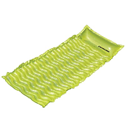 "70"" Inflatable Lime Green Bubble Swirled Swimming Pool Air Mattress Float: Toys & Games"