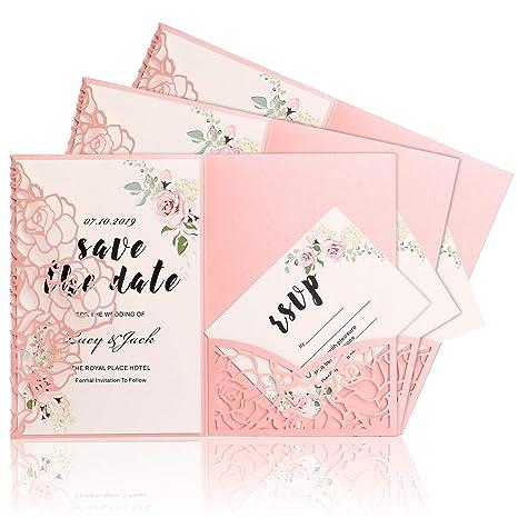 Highyi Wedding Invitation Card 20pcs Paper Card Set 3 Folds Laser Cut Rose Shape For Wedding Engagement Birthday Baby Shower Dinner Diy Blank Inner