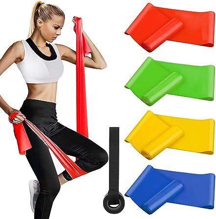 Pilates Fuerza Brazos Estiramientos 4 Piezas Banda Resistencia para Yoga Mujer y Hombre Piernas Crossfit Bandas de Resistencia con 4 Niveles de Resistencia Oudort Bandas Elasticas Fitness