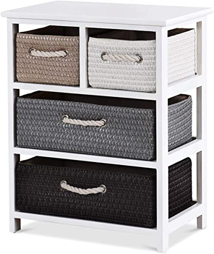 Giantex Nightstands Wooden End Table W/Knitted Drawers Bedside Table Storage Organizer