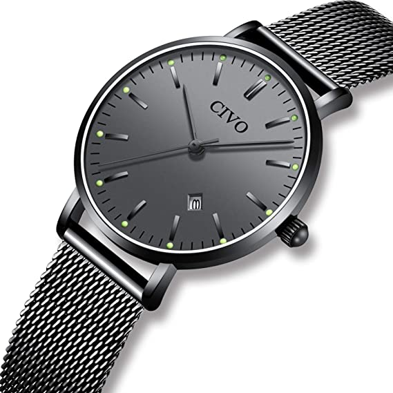 CIVO Relojes para Mujer Reloj Damas de Malla Impermeable Elegante Silm Fecha Calendario Banda de Acero Inoxidable Relojes de Pulsera Moda Vestir Negocio ...