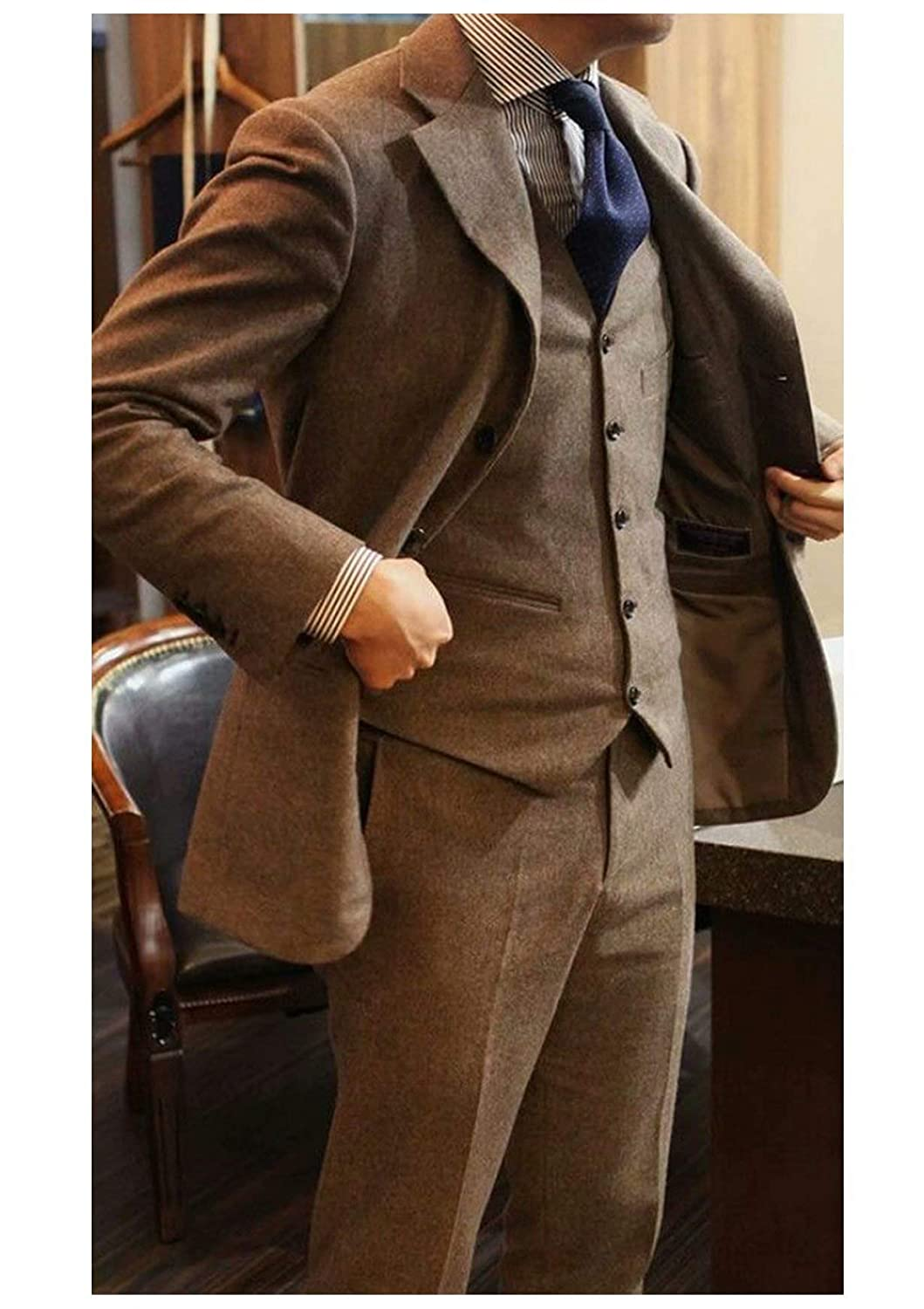 8ce8f98b7113 Jingmo Tweed Wool Brown Men Suit British Style Modern Blazer 3 Pieces Men  Suits (Jacket+Pants+Vest) at Amazon Men's Clothing store: