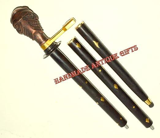 Antique BATMAN JOKER Head Metal Handle Strong Wooden Walking Stick Vintage Cane