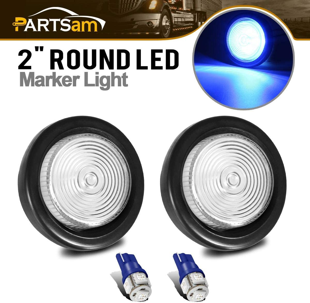 Partsam 2Pcs 2 Inch Round Side Marker Light Lamps Clear Replacement Lens w// T10 Replacement Plug Sockets Extended Wiring Harness Pigtail T10 194 168 W5W Blue 5-5050-SMD Led Bulbs