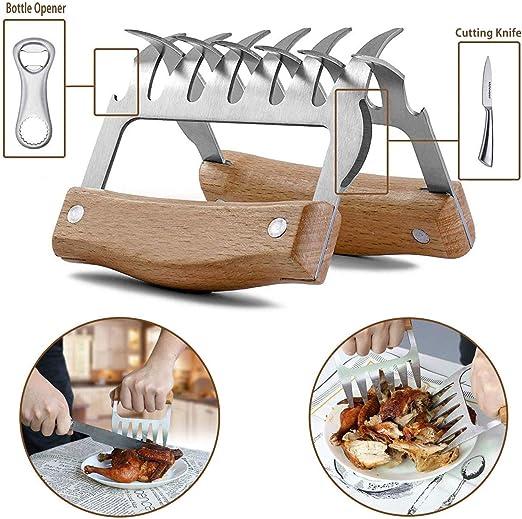 2x Acier Inoxydable Bbq ours Griffes Pulled Pork viande Griffes Métal Viande fourchettes