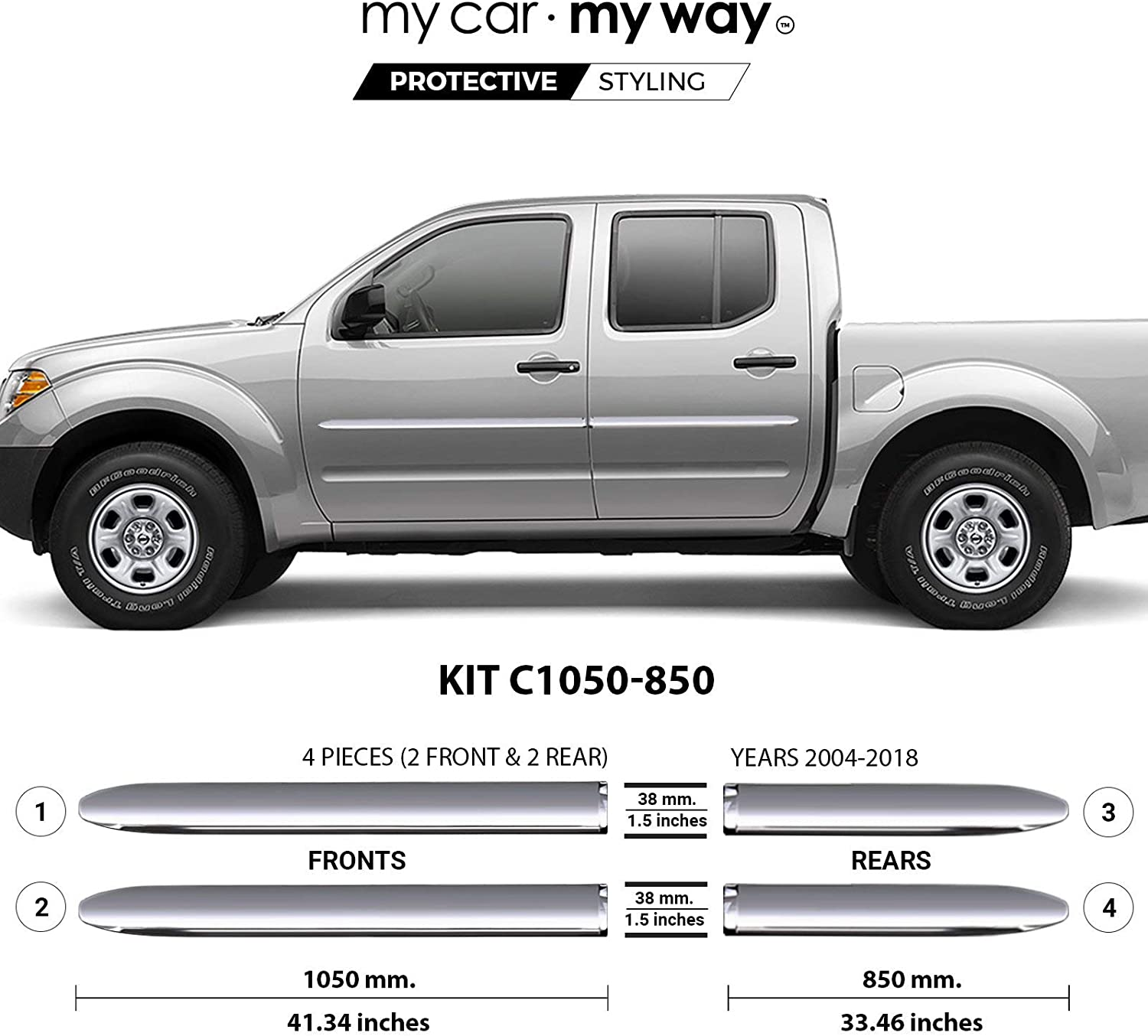 Fits 6 Box-Crew-Cab Real Carbon Fiber Body Side Molding Cover Trim Door Protector MY CAR MY WAY Nissan Frontier 2004-2018