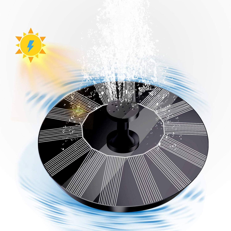 Qaxlry Solar Bird Bath Fountain Pump, Solar Powered Bionic Water Fountains Pump with 4 Nozzles, Floating Fountain Pump for Birdbath, Pond, Pool, Fish Tank, Aquarium and Garden (Black)
