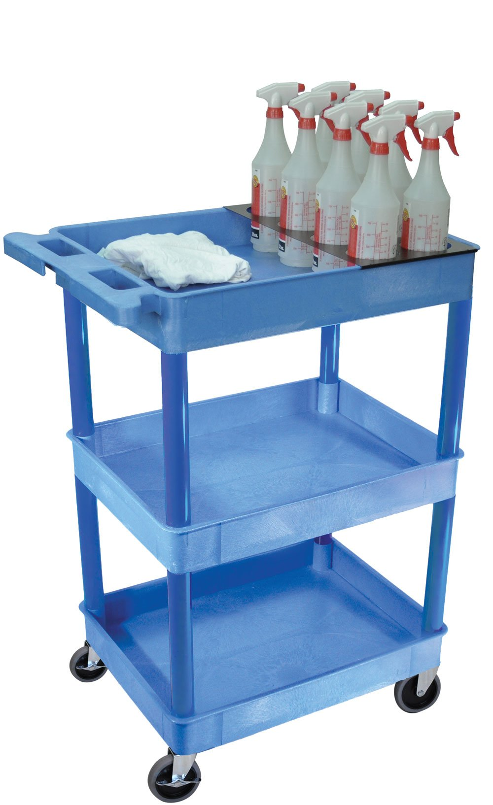 LUXOR BUSTC111BU Tray Shelf Carts, Blue